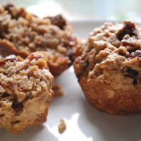 plate with date walnut muffins