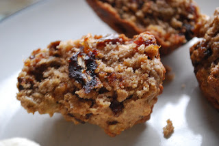 close up of muffins with dates and walnuts