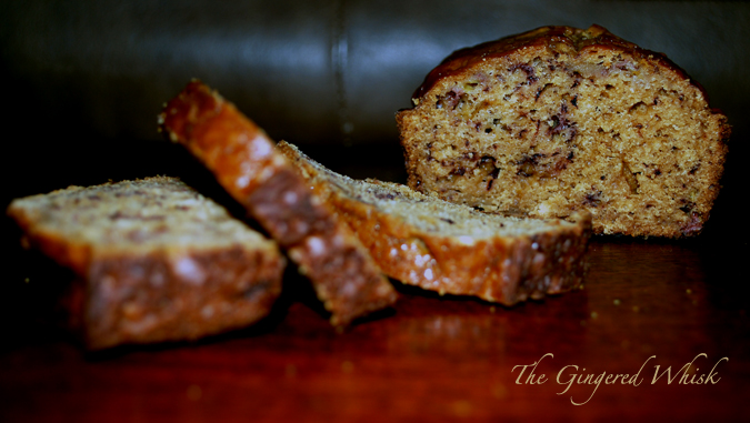 four thick slices of Earl Grey Banana Bread stacked on each other