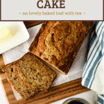 earl grey tea cake with text overlay for pinterest