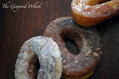 close up of three donuts with glaze, cinnamon sugar, and powdered sugar toppings