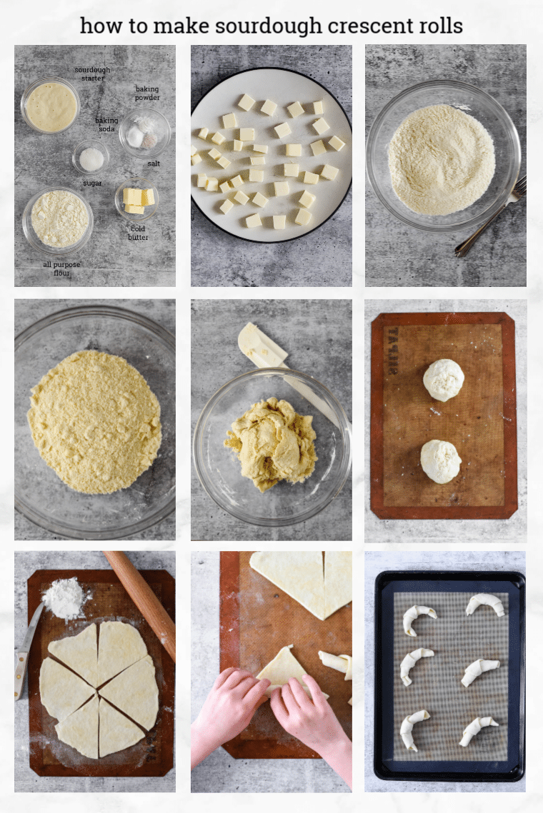 collage showing steps to make sourdough crescent rolls