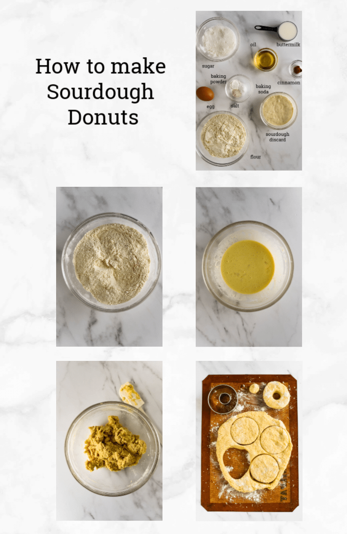 collage showing steps to make sourdough donuts