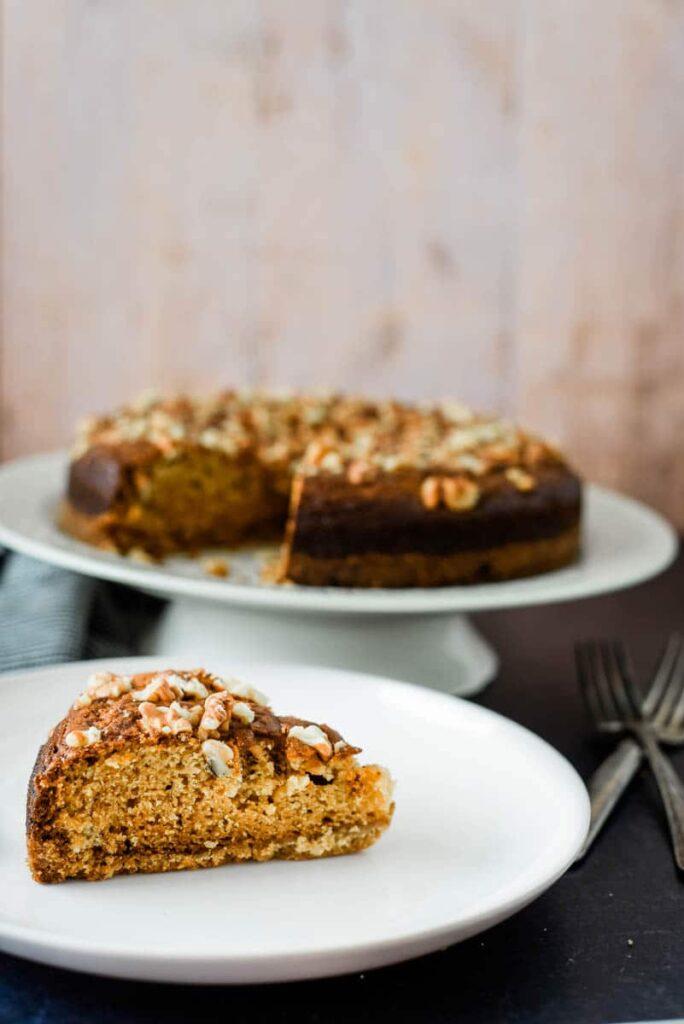 slice of armenian nutmeg cake on white plate