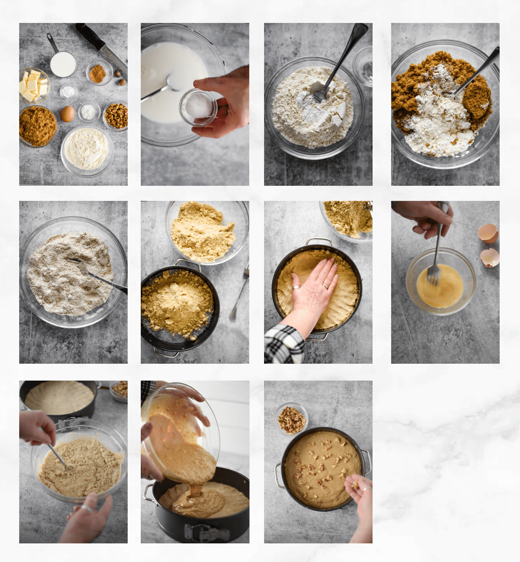 photo collage showing steps to make Armenian nutmeg cake