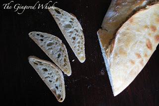 sourdough ciabatta loaf and three slices