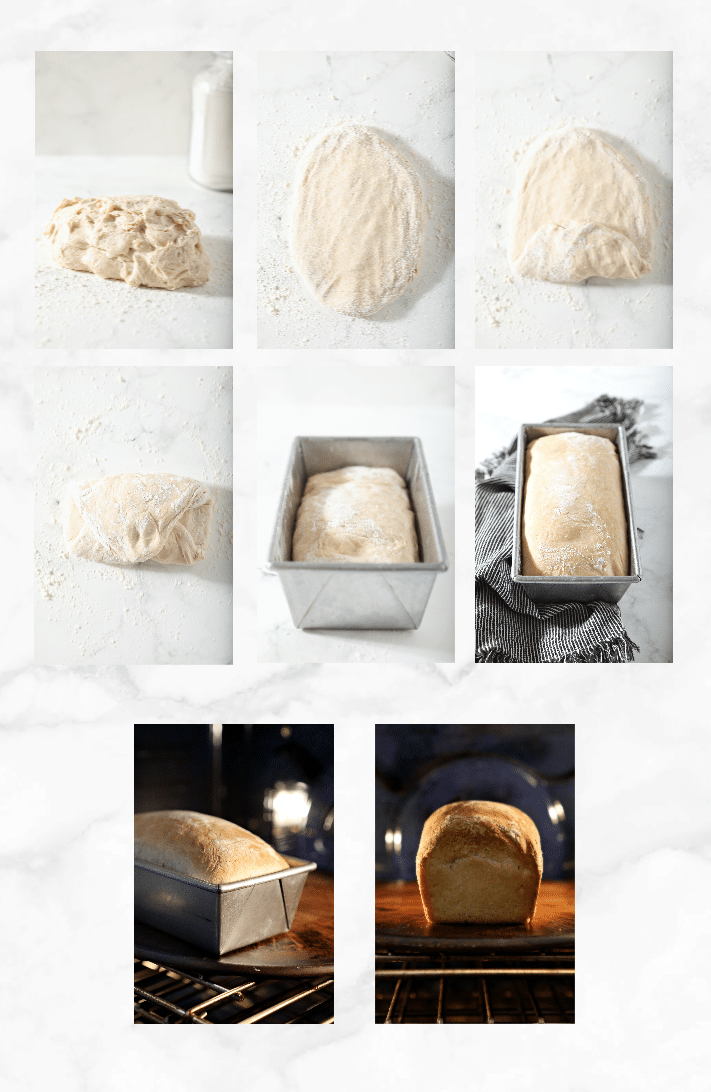 collage showing step by step images for shaping and baking sourdough sandwich bread