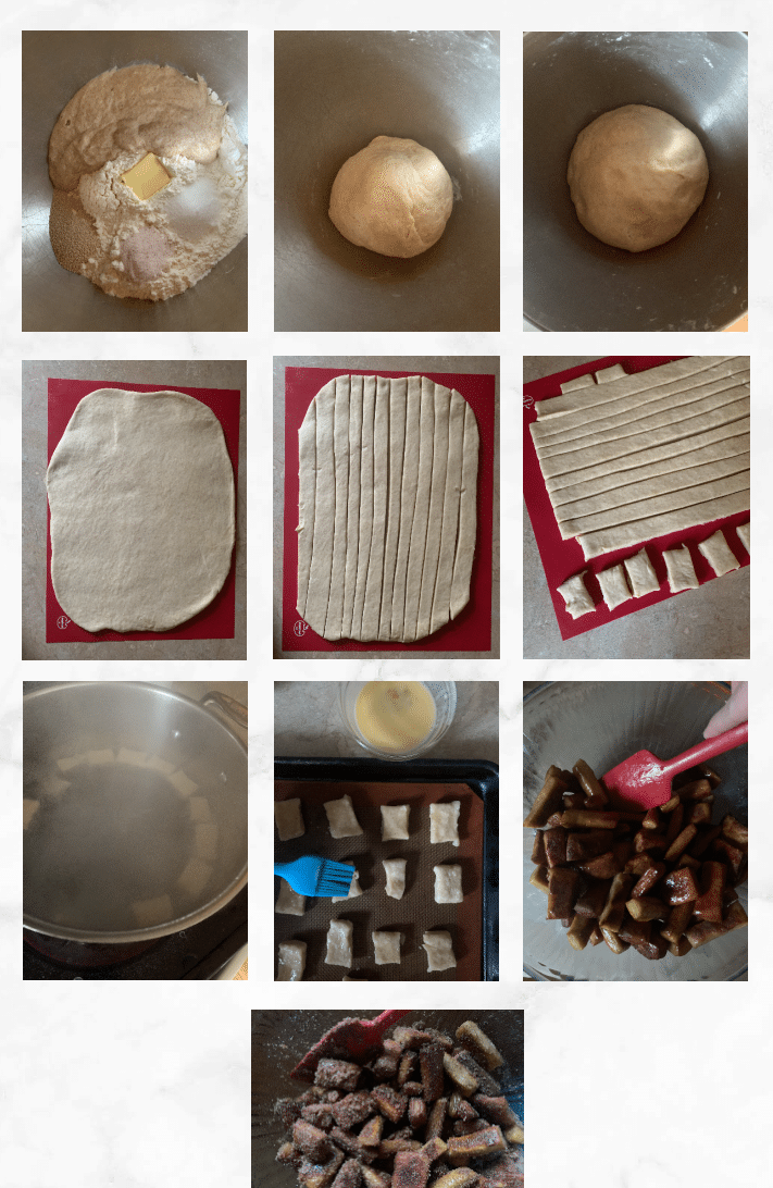collage showing images of steps to make sourdough pretzel bites
