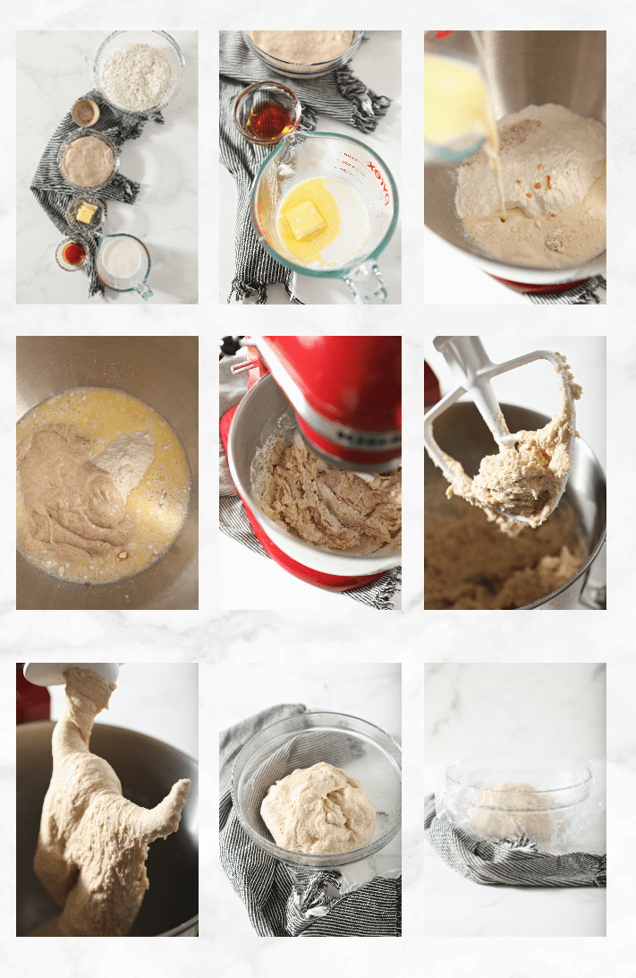collage of images showing how to make sourdough sandwich dough