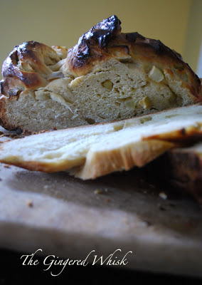 Honey and Apple Challah with slice taken out