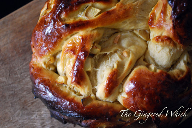 Apple Honey Challah loaf on wood board
