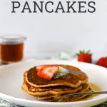 strawberry pancakes with text overlay