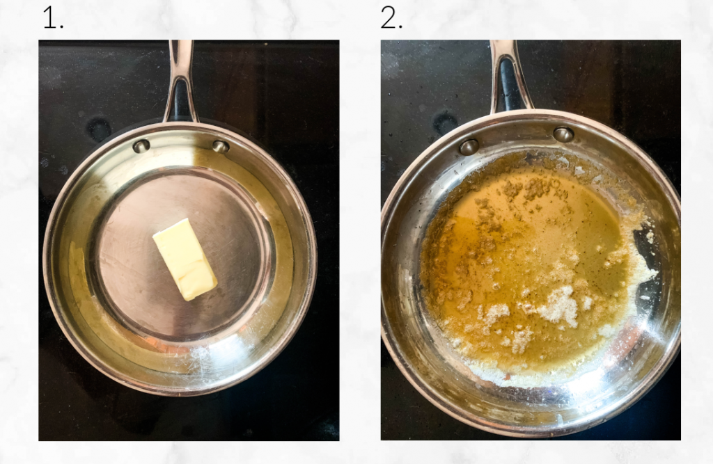 collage showing how to make browned butter