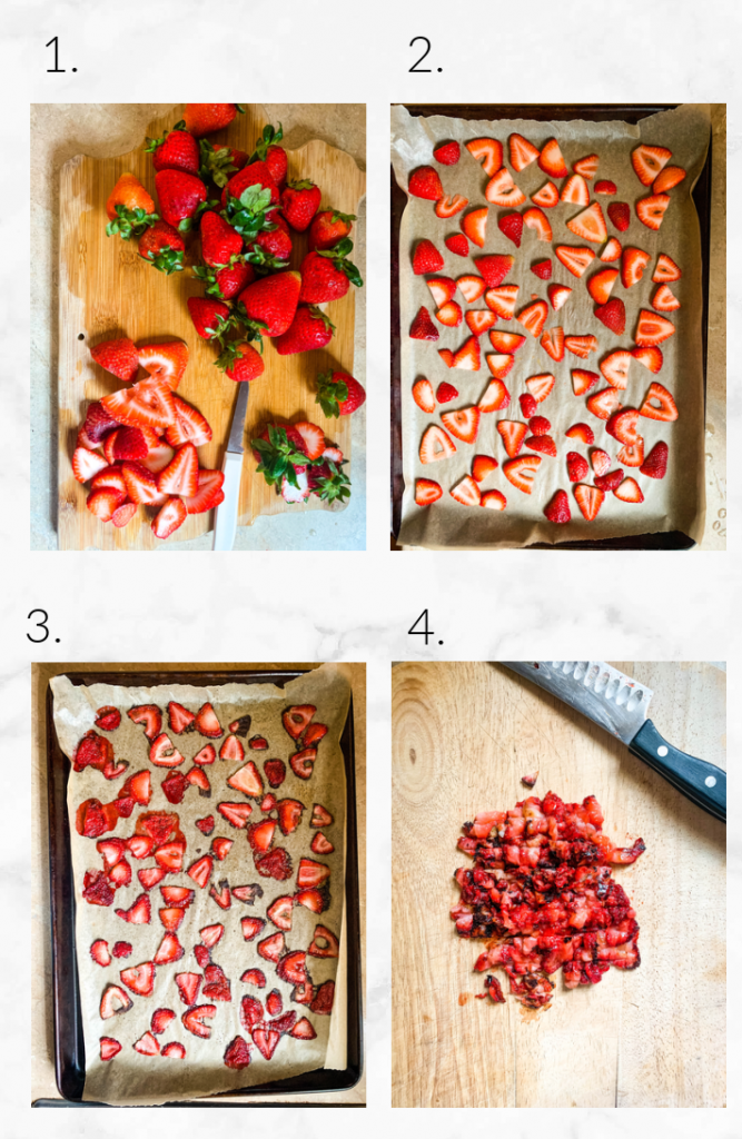 collage showing slicing strawberries, and roasting them and dicing them