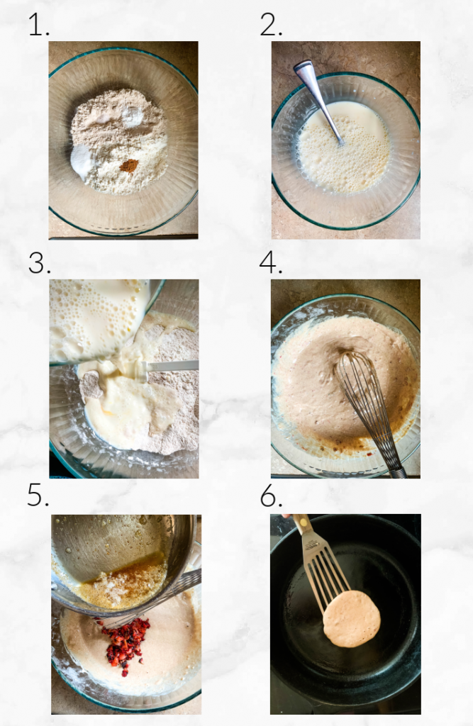 collage showing mixing pancake batter and cooking on skillet