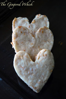 three heart shortbread cookies stacked on top of each other