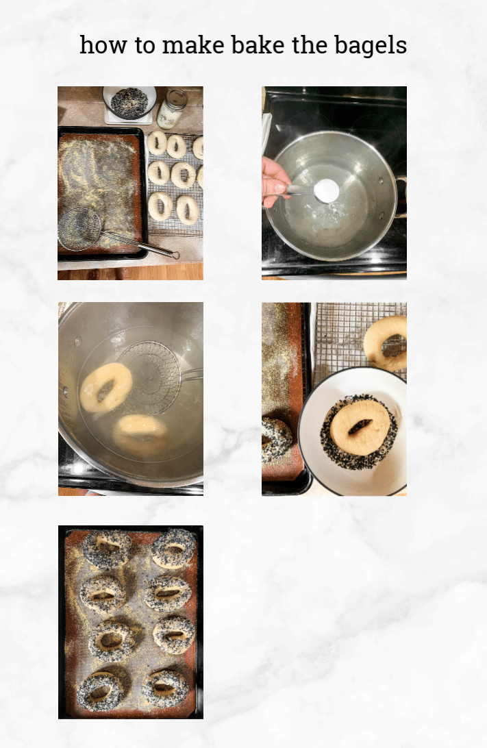 collage of images showing how to bake bagels