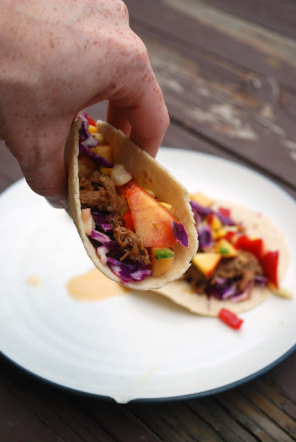 Pork Tacos with Summer Corn and Nectarine Salsa - a fun and healthy meal that uses leftover pulled pork!