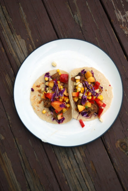 Pork Tacos with Summer Corn and Nectarine Salsa - easy and quick almost no-cook weeknight meal