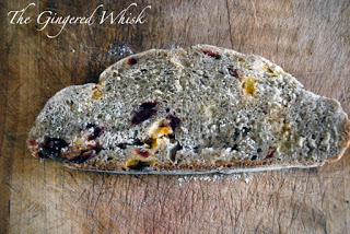 slice of earl grey sourdough bread with dried fruit