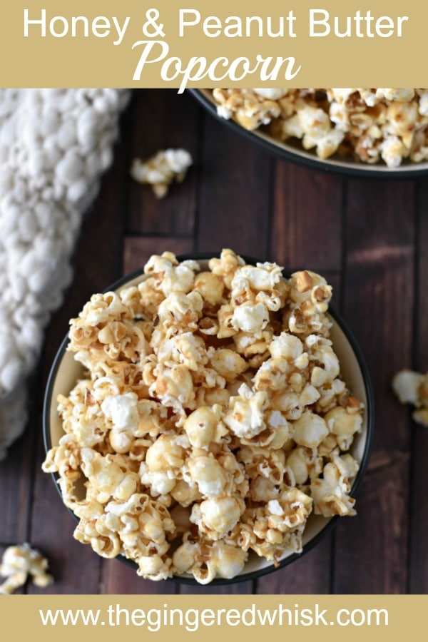 This 5 ingredient Honey Peanut Butter Popcorn Recipe makes for a deliciously addicting sweet and gooey treat - perfect for movie nights and sleepovers! No corn syrup!