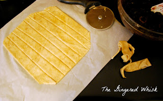 Cutting sourdough pie crust into lattice top strips