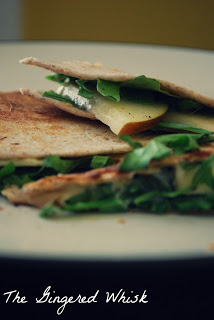 Apple, Brie and Arugula Quesadilla Slices