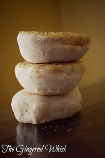 a stack of sourdough english muffins