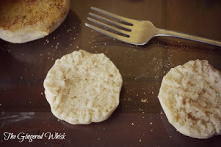 showing split sourdough english muffin