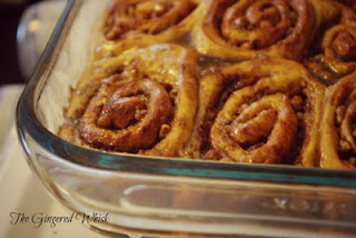 spiced squash sweet rolls in glass baking pan