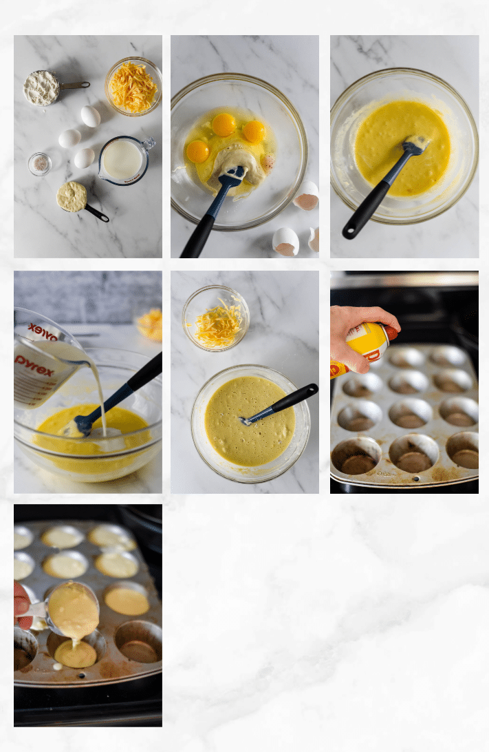collage showing steps to make sourdough popovers
