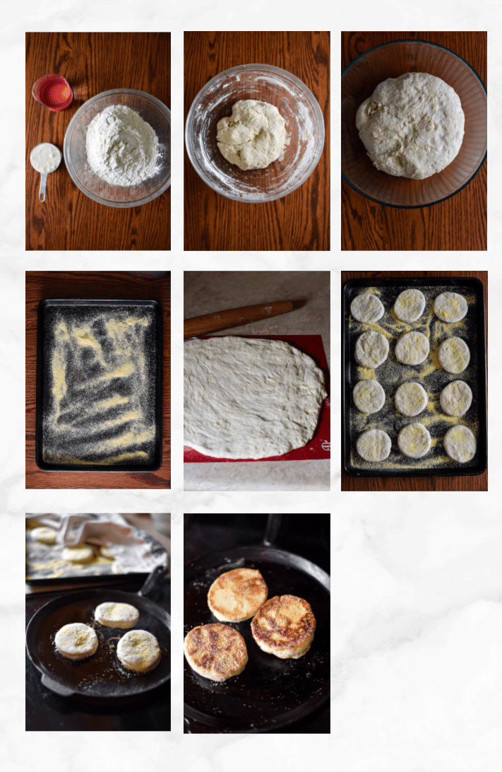 collage showing steps to make sourdough english muffins