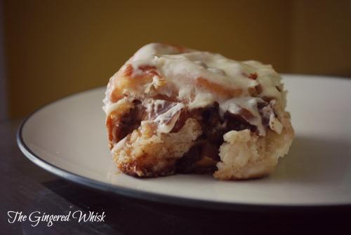 apple walnut cinnamon roll on plate