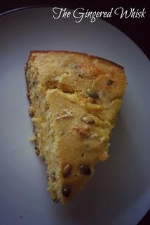 slice of cheddar cornbread on plate