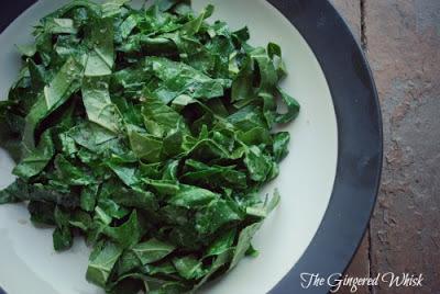 sliced collard greens in bowl