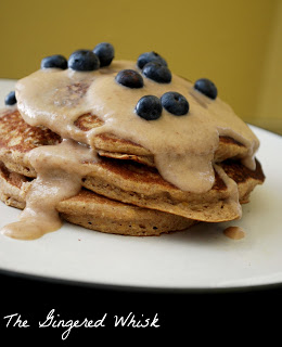 stack of sweet potato pancakes with blueberries