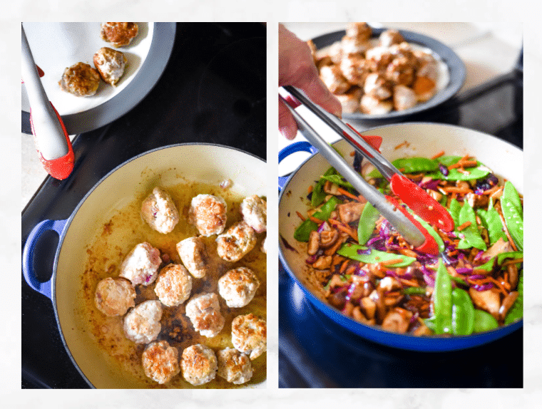 collage showing steps to make stir fry with meatballs