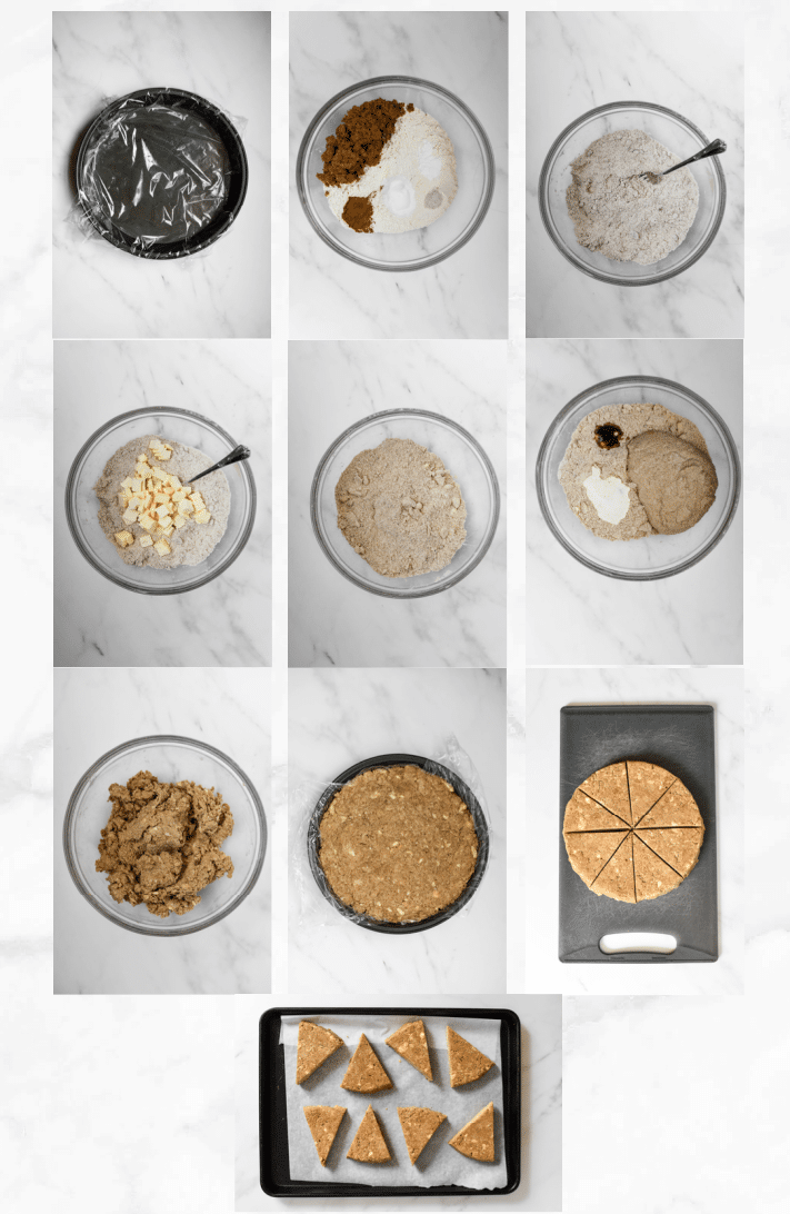 collage showing steps to make scones with sourdough starter