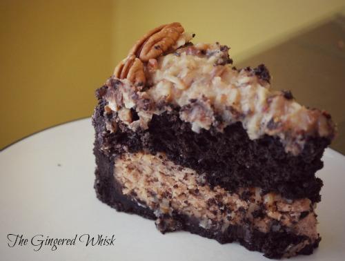 slice of german chocolate cheesecake on plate