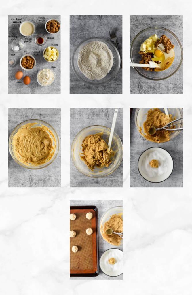collage of images showing steps to make sourdough peanut butter cookies