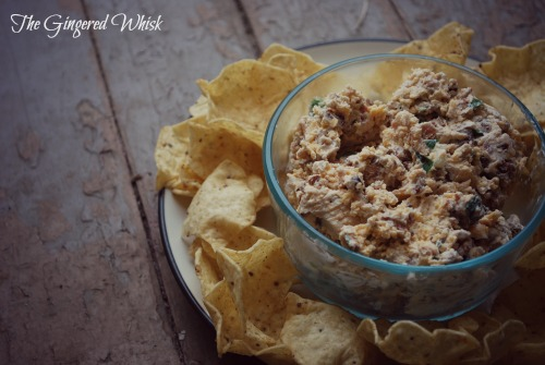 Perfect appetizer for parties! This bacon dip in bowl with chips
