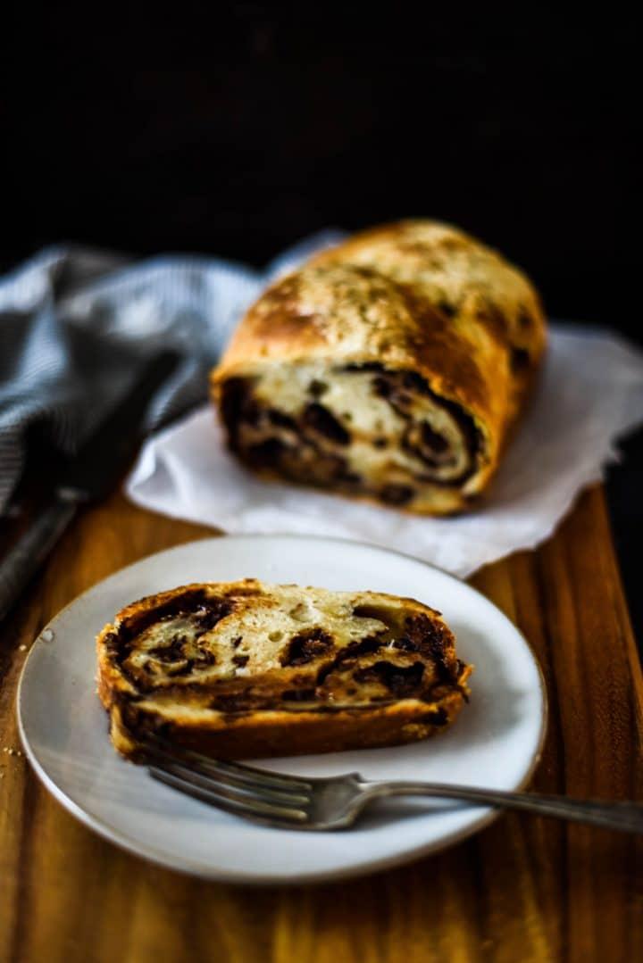 sourdough babka loaf and slice
