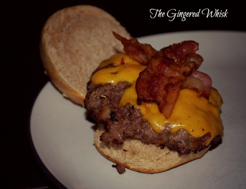 venison burger with bacon and cheese