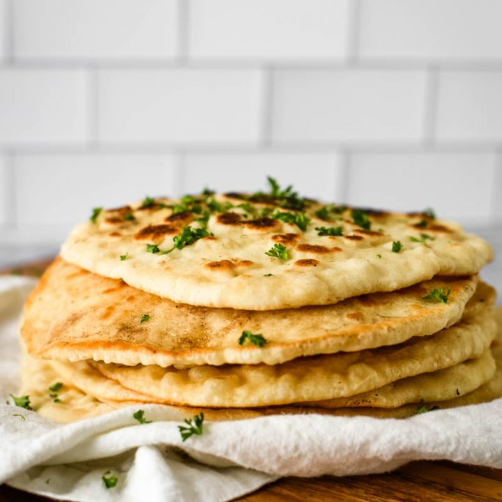 stack of sourdough naan