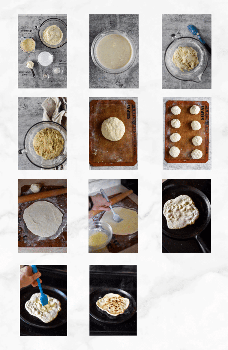 collage showing images of how to make sourdough naan