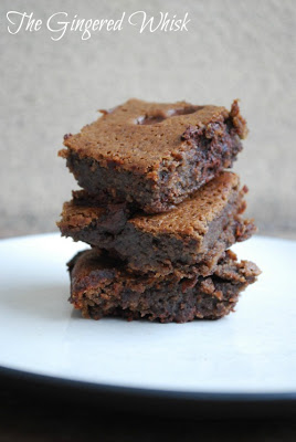 three black bean brownies stacked