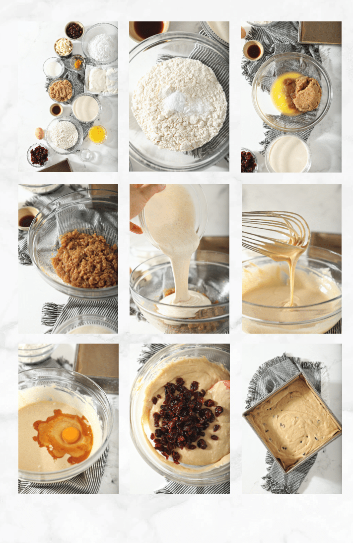 collage showing step by step images for how to bake recipe