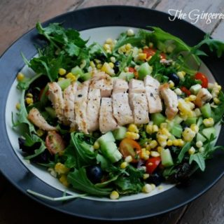 summer dinner salad with grilled chicken and blueberries