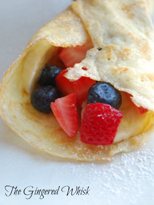 close up of sourdough crepe filled with berries