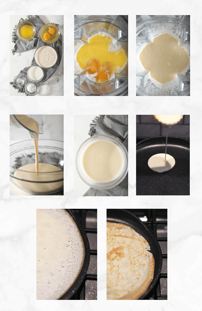 collage showing images of steps to make crepes